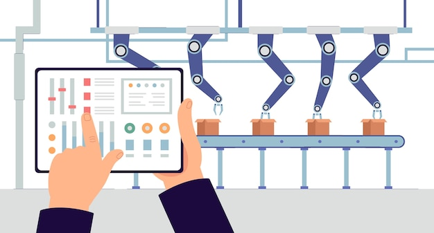 Aplicación de monitoreo de producción industrial y concepto de software de fábrica inteligente con pantalla de tableta en el fondo del transportador robótico automático, ilustración.
