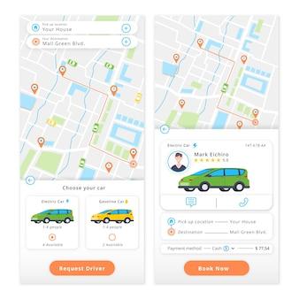 Aplicación móvil con aplicación de pedido de taxis