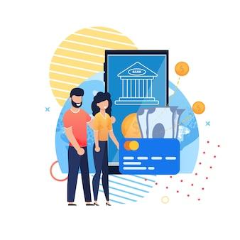 Aplicación móvil de banco en línea para ahorros familiares