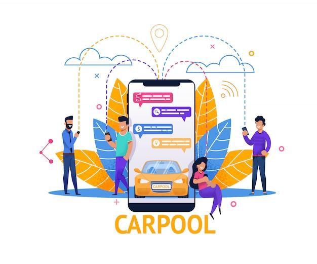 Aplicación móvil de carpool y planificación de viaje en chat