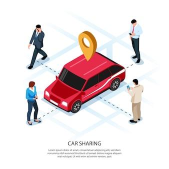 Aplicación móvil de composición isométrica de personas para compartir autos con vehículo rojo en la ubicación del mapa interactivo