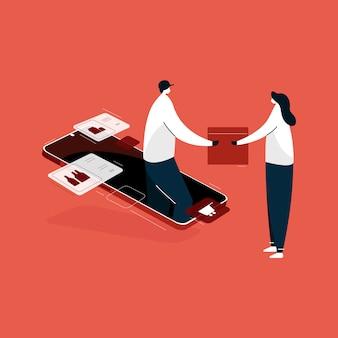 Aplicación móvil de compras en línea, ilustración del servicio de entrega a domicilio express isométrica, compras desde casa