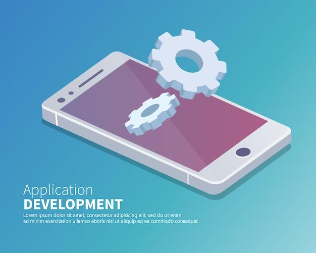 Aplicación móvil y concepto de desarrollo de aplicaciones isométricas.