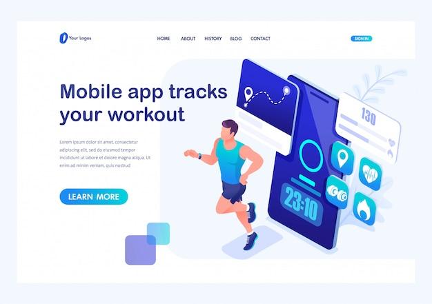 La aplicación móvil de concepto isométrico rastrea su entrenamiento, atleta masculino en una carrera. formación de un joven. página de inicio de plantilla para sitio web