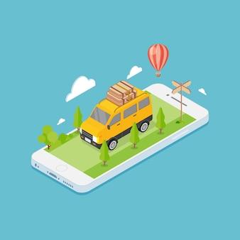 Aplicación móvil concepto de viaje online.