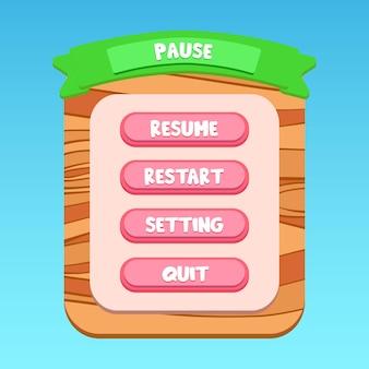 Aplicación móvil con dibujos de madera ui panel de pausa emergente verde escrito dibujos animados vector premium