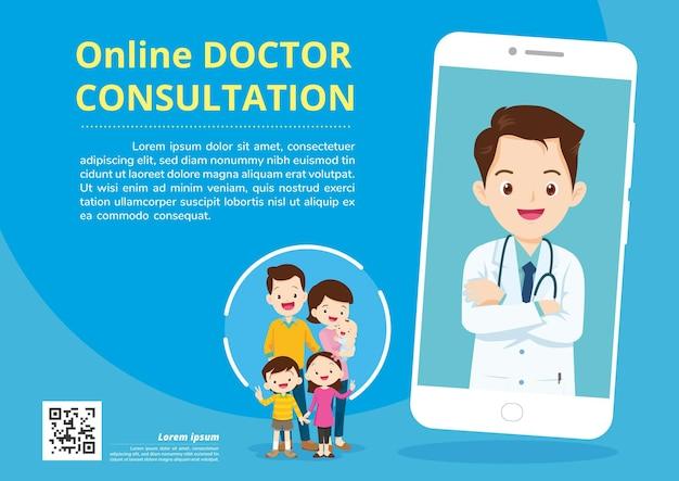 Aplicación móvil doctor family usando el servicio en línea de control health consult