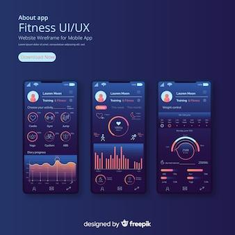 Aplicación móvil fitness infografía diseño plano