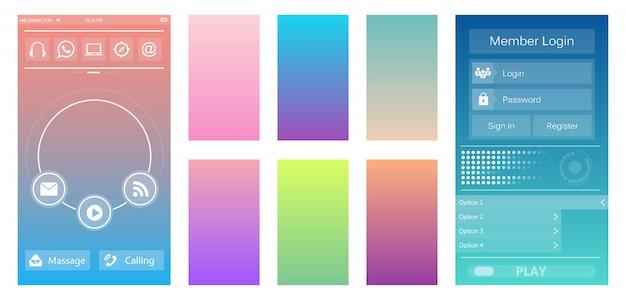 Aplicación móvil de fondo de color suave.