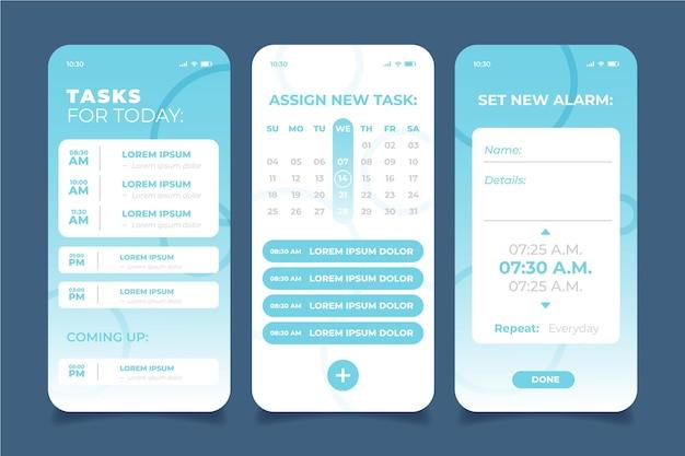 Aplicación móvil de gestión de tareas azul claro