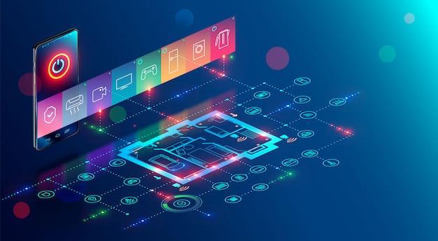 La aplicación móvil de hogar inteligente controla internet de las cosas por teléfono