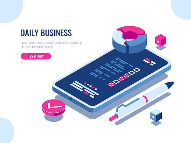 Aplicación móvil con hoja de verificación de negocios diarios, lista de verificación en la pantalla del teléfono móvil