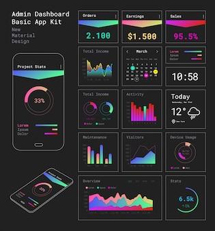 Aplicación móvil de interfaz de usuario de admin dashboard sensible al diseño plano