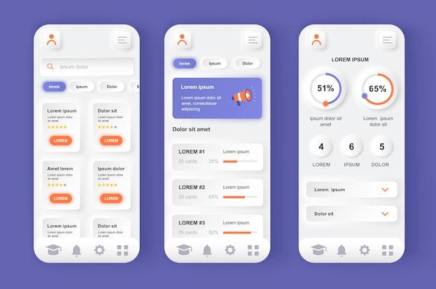 Aplicación móvil de interfaz de usuario de diseño neumorfico moderno de aprendizaje en línea