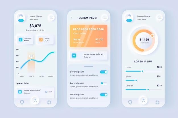 Aplicación móvil de interfaz de usuario de diseño neumorfológico moderno de banca en línea