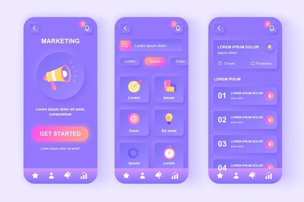 Aplicación móvil de interfaz de usuario de diseño neumorphic moderno de marketing digital