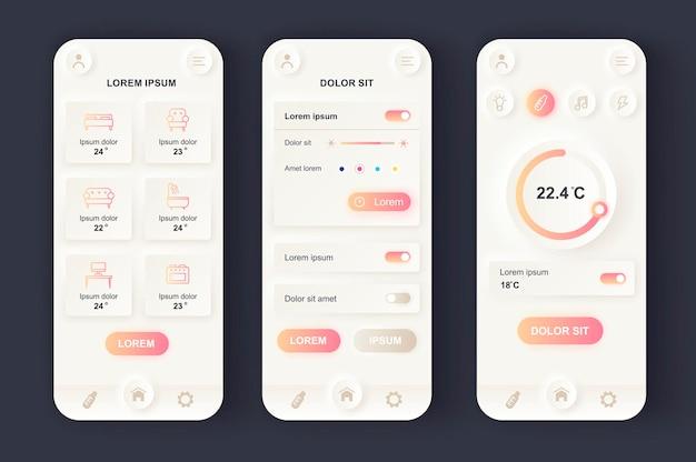 Aplicación móvil de interfaz de usuario de diseño neumorphic moderno de smart home
