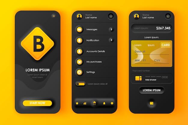 Aplicación móvil neomorphic ui ux kit banca en línea estilo de neomorfismo único.