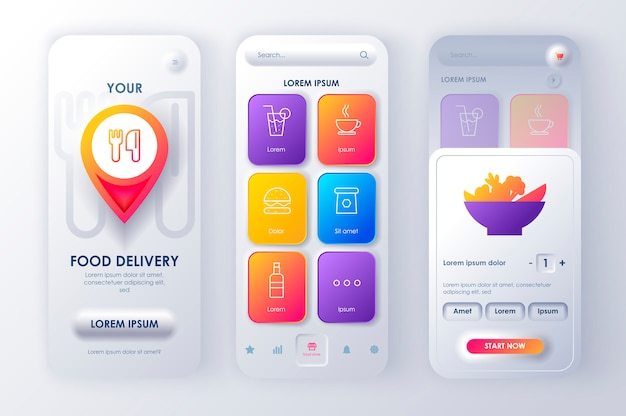 Aplicación móvil neomorphic ui ux kit delivery food estilo de neomorfismo único.