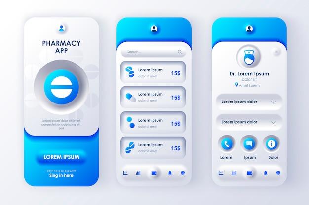 Aplicación móvil neomorphic ui ux kit farmacia en línea estilo de neomorfismo único.