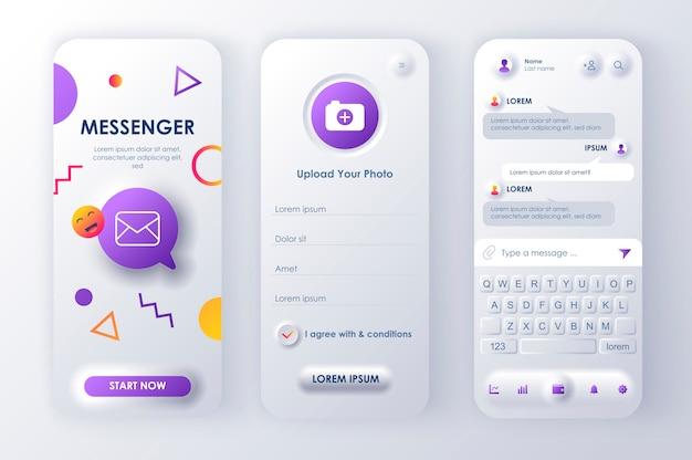 Aplicación móvil neomorphic ui ux kit messenger en línea estilo de neomorfismo único.