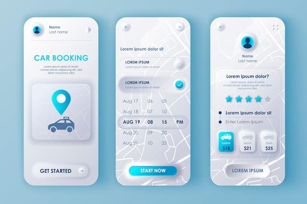 Aplicación móvil neomorphic ui ux kit de reserva de coche estilo de neomorfismo único.