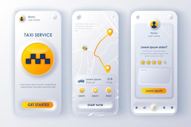 Aplicación móvil neomorphic ui ux kit servicio de taxi estilo de neomorfismo único.
