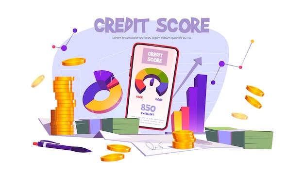 Aplicación móvil de puntaje de crédito con escala de calificación de mala a buena. banner de vector con ilustración de dibujos animados con medidor de préstamo en la pantalla del teléfono inteligente, gráfico y dinero