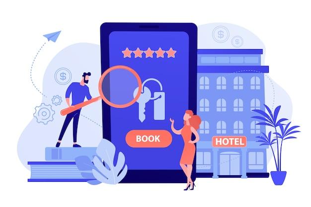 Aplicación móvil de reserva de alojamiento. sitio web para solicitar habitaciones, encontrar la ubicación de los albergues