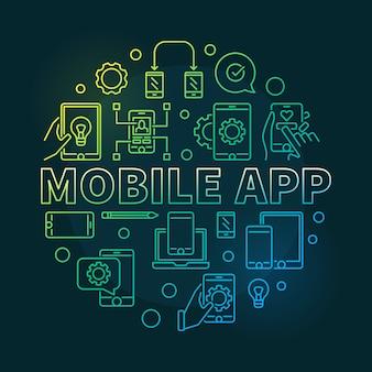 Aplicación móvil ronda ilustración de esquema moderno