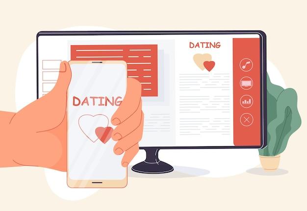 Aplicación móvil de servicio de agencia de citas en línea para encontrar amor, construir una familia. mano de mujer sosteniendo smartphone. plataforma de sitio web para computadora para la creación de perfiles personales, organización de citas románticas
