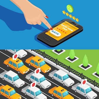 Aplicación móvil servicio de taxi banners isométricos