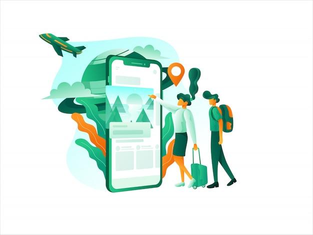 Aplicación móvil de servicio turístico de viajes en línea plana
