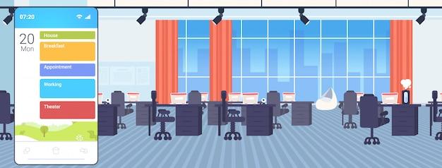 Aplicación móvil para teléfonos inteligentes con diferentes planes de acción para el día laboral laboral sobre el desayuno de la casa y el concepto de horario de teatro moderno espacio de trabajo oficina interior horizontal