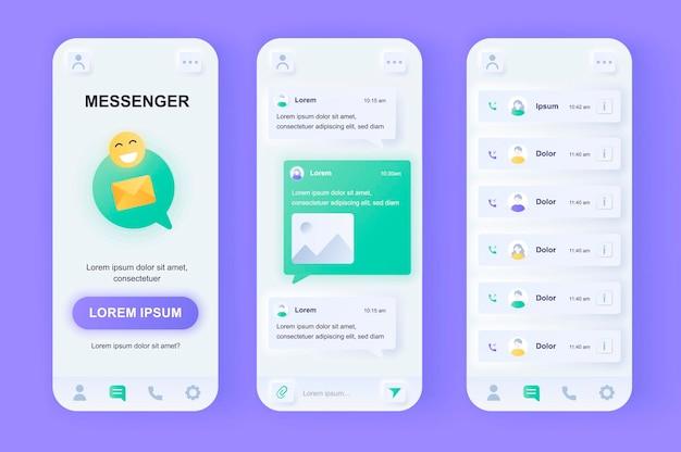 Aplicación móvil ui de diseño neumorphic moderno de mensajería en línea