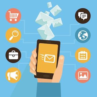 Aplicación móvil de vector - marketing por correo electrónico y promoción - infografías en estilo plano