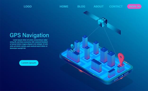 Aplicación de navegación gps en concepto de teléfono inteligente. sistema de navegación y seguimiento por radio satelital en dispositivo móvil para sistema de posicionamiento global.
