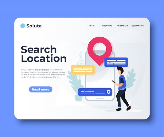 Aplicación de navegación con página de aterrizaje de pin y ubicación.