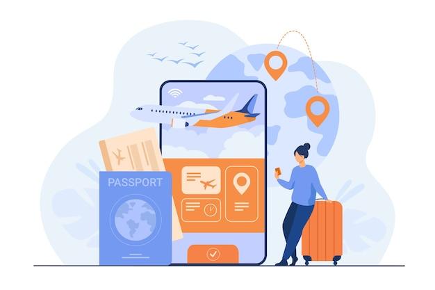Aplicación online para turismo. viajero con teléfono móvil y pasaporte reservando o comprando billete de avión.