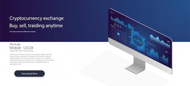Aplicación de pc y teléfono inteligente con gráfico de negocios y datos analíticos.