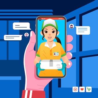 Aplicación de pedido de entrega en el teléfono inteligente, la niña de mensajería envía el paquete al cliente, la niña con sombrero y guantes trae la caja