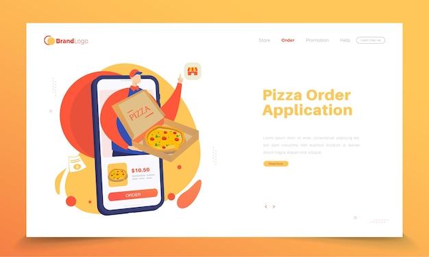 Aplicación de pedido de pizza en línea en la página de destino