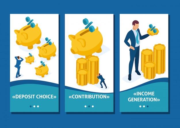 Aplicación de plantilla isométrica el concepto de invertir en un depósito bancario, pequeñas personas llevan dinero, aplicaciones de teléfonos inteligentes