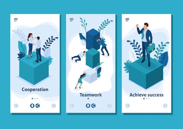 Aplicación de plantilla isométrica empleados que trabajan juntos para crear una solución de negocios, aplicaciones para teléfonos inteligentes