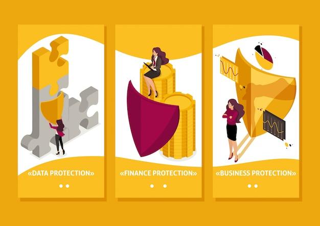 Aplicación de plantilla isométrica para garantizar la seguridad total de su negocio, abogada, aplicaciones para teléfonos inteligentes