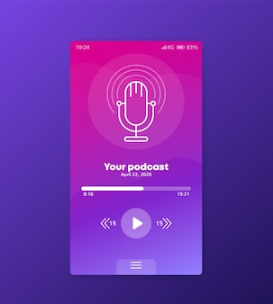 Aplicación de podcast, diseño de interfaz de usuario móvil