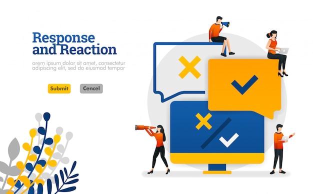 Aplicación de procesamiento de respuesta y reacción de comentarios de usuarios para productos ilustración vectorial