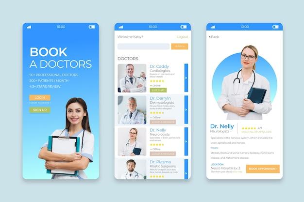 Aplicación de reserva médica con foto