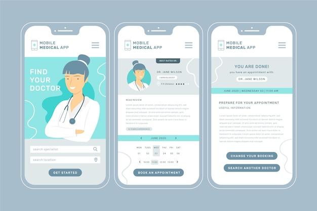 Aplicación de reserva médica con interfaz de teléfono inteligente