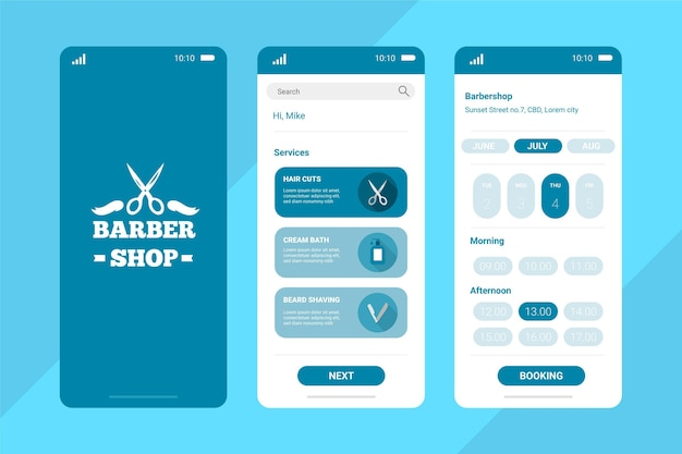 Aplicación de reserva pastel azul barber shop
